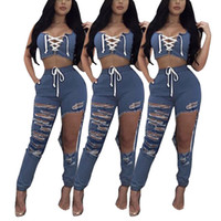 Women casual suit two piece set Sexy Tank Tops Ripped Holes ...