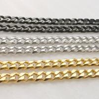 DIY kolye bilezik işaretleme toplu 5MM siyah / gümüş / altın paslanmaz çelik frenlemek Link Zinciri bulguları mücevher Lot 5meter