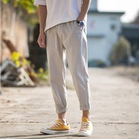 Cotton Linen Joggers Men Solid Men' s Harem Pants 2020 S...