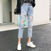 Разорванные джинсы для женщин синий Сыпучие Винтажная Женский Мода Женщины высокой талией Новый стиль Багги мама джинсы женские брюки повседневные джинсы весна штаны