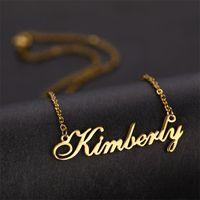 Персонализированные пользовательские имени ожерелье золото из нержавеющей стали буквы индивидуальные ожерелья для женщин девочек обаяние ювелирных изделий невесты подарок