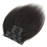 9A Grad Klipp in Haarverlängerungen verworrenen gerade brasilianischen peruanischen Malaysian Indian mongolischen Jungfrau-Haar 7pcs / set 120g Natural Color