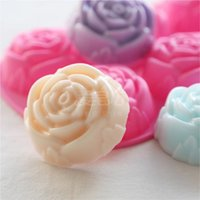 6 in 1 rose Shape flower Silicone TrayChocolate Candy Cake m...