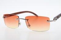 Wholesale gafas de sol sin montura 3524012 Designer de estilo de moda marrón tallado 2021 Gold Unisex Gold New Classic MLPDJ
