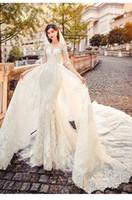 2020 Ilusión de boda africana vestidos con cuello redondo de encaje media manga con desmontable tren vestido de novia más el tamaño de los trajes de novia Arabia Saudita