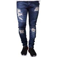 Mens Designer Ripped Biker Jeans Sommer Frühling Stickerei Denim Blue drapierte Hiphop Straßen-Jeans