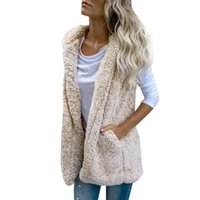 Womens Vests Spring Solid Sleeveless Fuzzy Cardigan Hoodie F...