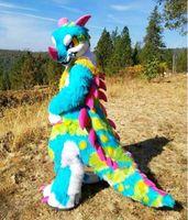 2019 Yeni Stil Uzun Kürk Husky Köpek Fursuit Kürklü Maskot Kostüm Suit Fantezi Elbise Yetişkin Çocuk Unisex Açık Fursuit Kıyafet