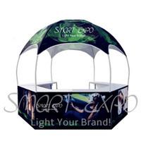 Tienda de gazebos de cúpula impresa personalizada 3M Pop Up Kiosk Tienda Publicidad al aire libre Tienda de cúpula con gráficos de tinte-sublimación y bolsa de ruedas portátil