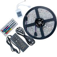 SMD 5050 RGB LED-Streifen wasserdicht 5m 300LED DC 12V LED-Lichtstreifen flexibles Neonband Luz mit 5A-Leistung und 440-Fernbedienung