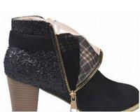 Moda Stivaletti donne tacco grosso con scarpe da sposa Paillettes Boot Sexy Girl Stivaletti Chirstmas Regali di design Booties partito