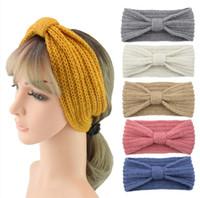 28 colori inverno lavorato a maglia fascia donne dello scaldino dell'orecchio Knot Hairband Lady Crochet ampio tratto Headwrap Turbanti all'ingrosso GHN03
