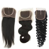 Cheap Indian Raw Human Hair 4x4 Lace Closure Body Wave with ...