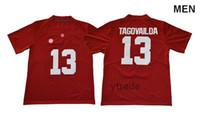 2019 nouveaux hommes NCAA Alabama Crimson Tide # 13 Tua Tagovailoa Équipe universitaire maillots Blancs et noirs chemise de football Uniformes de football brodés
