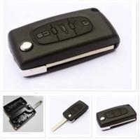 3ボタン未切断ブレードフリップ折りたたみリモートキーケースシェルキー保護カバーの鍵保護カバーの取り替え207 307 407 308 607ホット送料無料