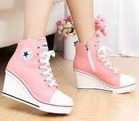 Горячая продажа-5 клинья значок высокой шнуровкой свободного покроя лифт обувь Женские ботинки холстины Высокий Верх клин кроссовки женщины спортивная обувь