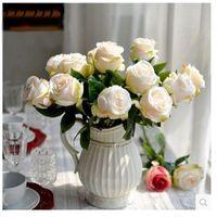 10pcs / lot di simulazione della Rosa Fiore Rosa Fiori Artificiali europea di alta qualità falso di seta della Rosa Fiore Wedding della decorazione della casa