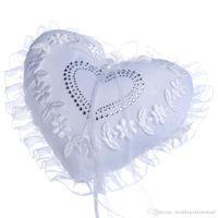Partido de la boda del corazón del amor de la boda del cordón almohadilla del anillo Material cinta de la perla del corazón de la flor del anillo del cristal Almohada Almohada del anillo nupcial