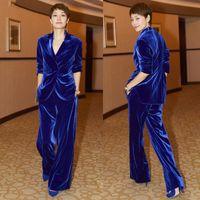 Mavi Kadife İki adet Abiye Kıyafet V Yaka Uzun Kollu Slim Fit Kadın Takımları Custom Made Kadın Casual Parti Elbise