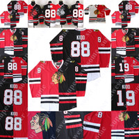 Custom Hockey Split Jersey 19 Jonathan Toovs 88 Patrick Kane Corey Crawford Hóquei Jerseys Stan Mikita Vermelho / Preto Vermelho / Branco