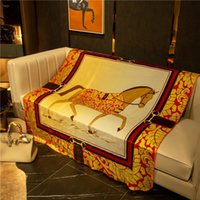 Orange Decke Fashion Horse Print Vintage Decke New Branded Beliebte Logo Verdicken Decke Mit Geschenkbox