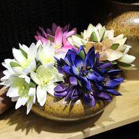 falsa flor de loto flor de seda de simulación festival de la boda jefe de novia con la decoración del hogar pantalla ramo