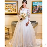 New Gorgeous A Line Wedding Dresses Off Shoulder Long Sleeve...