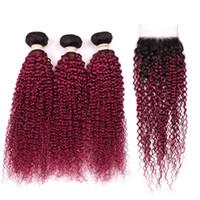 Silanda Hair Sale #T 1B / Bourgogne Kinky Remy Curly Cheveux humains Tissu 3 Feuille de tissage de trame avec une fermeture de dentelle 4x4 Livraison gratuite