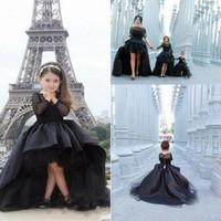 Noir Salut-Lo Tulle Enfants TUTU fille fleur première communion Robes de bal Princesse robe de demoiselle d'honneur de mariage occasion formelle Robe