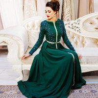 Green Muslim Evening Dress Moroccan Kaftan Mother of the Bride Dresses Appliques Dubai Saudi Vestido de Renda Mother Suit Long Sleeves