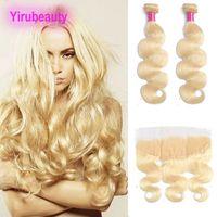 Malaysian unverarbeitete menschliche Haare Bündel mit 13x4 Spitze Frontal 3 pieces / lot Körperwelle 613 Blonde Haarverlängerungen 10-30 Zoll