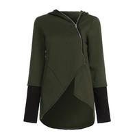 ZANZEA 2020 빈티지 여성 후드 불규칙 헴 솔리드 후드 캐주얼 착실히 보내다 코트 지퍼 위로 스웨터 재킷 플러스 사이즈 5XL