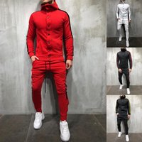 Men' s Slim Fit Sweatsuit Hooded Button Sweatshirt Side...