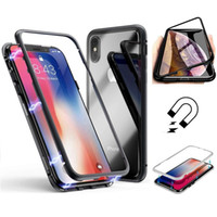 360 Magnetic Adsorption Case für iPhone XR XS MAX X 8 7 6 Plus + Gehärtetes Glas Zurück Magnet Cover Handyhüllen Metall hart transparent