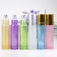 10 ml Sedefli Cam Boş Parfüm Şişesi Topu Rulo Uçucu Yağlar için Şişe Şişe Colorfull Mavi Beyaz HHA265