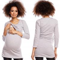 Plus Size manches longues femmes enceintes de maternité T-shirt Top Slim Fit Tee longue infirmière t-shirt S M L XL XXL