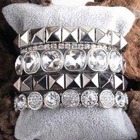 MD Fashio Perlenarmband Set Naturstein-Metallkristall 5pc Armband-Armbänder Set für Frauen Fashion Jewelry