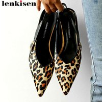 Large size elegant lady buckle strap slingback women pumps pointed toe leopard  horsehair med heels dating party shoes L13