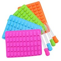 50 Cavity Silicone Gummy Chocolate Mold Candy Maker Ice Tray Jelly Mould With Dropper DIY Children Cake Tools KKA7749