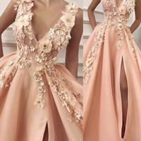 Новые персиковые платья выпускного вечера 2019 V шеи ручной работы цветы 3D боковой разрез Тюль Длина пола Вечерние платья Платья Розовые женские платья