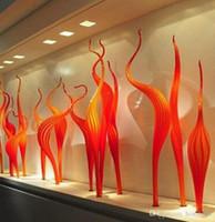 Top qualité Verre soufflé bouche Reed Lampadaire en verre de Murano orange Sculpture Décor moderne 100% Sculpture en verre soufflé bouche pour le jardin