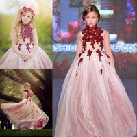 Dentelle High Col Petites filles Robes de Pageant Appliques Toddler Robe de billes Fleur Robe De Fille Longueur Tulle Perles Premières robes de communion BF