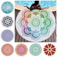 Mandala Toalha de Praia Tassel Boho Tapestry Rodada Praia Cobertores de poliéster Mulheres Xaile Yoga Mat Picnic Tapetes 22 Designs Opcional LQP-YW2859