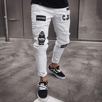 Männer Vintage zerrissene Jeans-Biker dünne Slim Fit Zipper Denim Pant Zerstörte ausgefranste Hosen-Stickerei-Art-Hosen