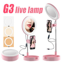G3 LED Выдвижного сеого Кольцо свет Диммируемого Кольцо лампа фотографическое освещение Штатив для макияжа Живого потока LED Camera