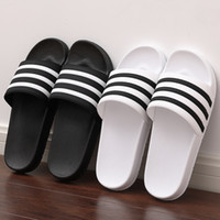Men Slippers 2020 Mulheres Homens Slides Casal Flip Flops Soft Black and White Stripes Shoes Verão Casual Masculino Chaussures Femme