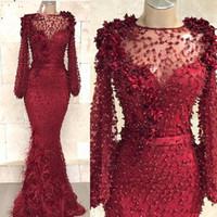 Cristales de partido por encargo atractivo del vestido de fiesta Vestidos Enormes robe de soiree sirena de Borgoña vestidos formales plumas largas de las mangas vestidos de baile
