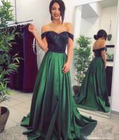 Günstige Hunter Green Prom Kleider A Line Off The Shoulder Schwarz Pailletten Top Lace Formale Abendkleider Party Dress