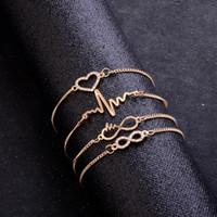 Luxury Gold Colore Catena 4 sofisticati stili cuore sveglio braccialetto per le donne le ragazze Infinity Love Forever monili casuali