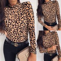 Para mujer del leopardo del verano de manga larga de cuello alto remata la camisa blusa ocasional camiseta